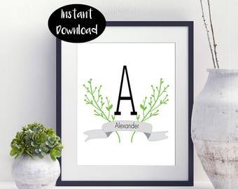 Monogram print ,Custom printable ,printable wall decor, Name Printable ,Floral Monogram Art Digital Download INSTANT DOWNLOAD