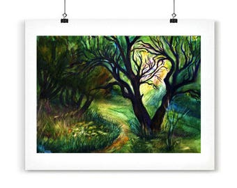 Fairy green tree poster Green poster art Landscape watercolor print Mystical green poster Emerald wall art print PaintingOnlineStore