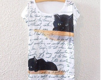 2017 Woman Tank Creative Top Black Cat White Clothing High Quality Fasion Cool