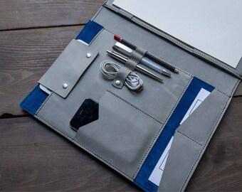 Large Writing Pad Folio, Leather Business Folio, Leather Portfolio, Business Organizer, Leather Organizer, Ipad Folder, Exec, FREE MONOGRAM
