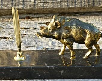 pen pencil holder and wild boar metal figurine
