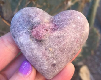 Pink Tourmaline Heart / Rubellite / 2 1/2 Inches /Healing/ Happiness/Objectivity/ Compassion/ Serenity/ Balance/ Reiki Charged