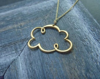 Necklace cloud 18 k gold plated over sterling silver