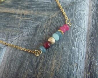 Bracelet beads tourmalines, amazonites.