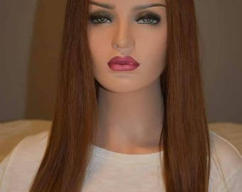 "18"" medium reddish brown full lace wig with silk top"
