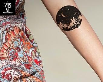 Moon tattoo etsy for Palmetto tree and moon tattoo