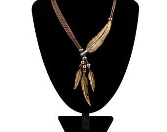 Necklace Alloy Feather Statement Necklaces Pendants Vintage Rope Chain Necklace Women Accessories