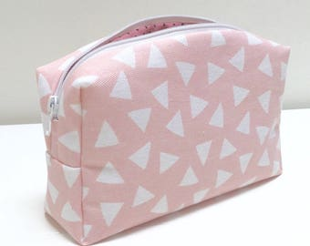 Pouch, pink triangle pattern