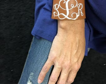 Leather cuff embroidered monogram bracelet