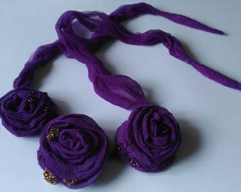 Necklace choker Purple necklace Silk necklace Nunofelted necklace Gift for women Flower necklace