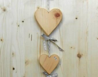 Floor door in antique pine-hearts