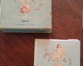 Vintage Pair of Never Used/Sealed Face Powder Boxes by Woodbury, Lady on a Conch Shell, Fiesta and Coquette Colors