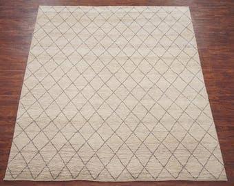 Moroccan 8X10 Hand-Knotted Area Rug Wool Oriental Carpet (8.5 x 9.10) Beige Gray Diamond Design