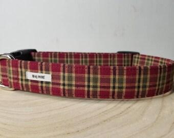 "Burgundy Plaid Boy Dog Collar / Beige Plaid / Male Dog Collar / Puppy Collar / Pet Collar / Collar For Boy Dogs / ""The Roberto"""