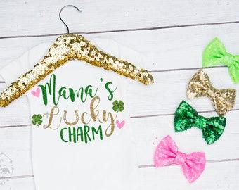 Baby Girls Mama's Lucky Charm Onesie, Saint Patricks Day Onesie, St Pattys Day Onesie, First Saint Patricks Day, 1st St Pattys Day, Toddler