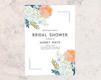 Bridal Shower Invitation, BLUE FLORAL Bridal Shower Invitation, Stationary, Floral, Watercolor, Shower Invite,