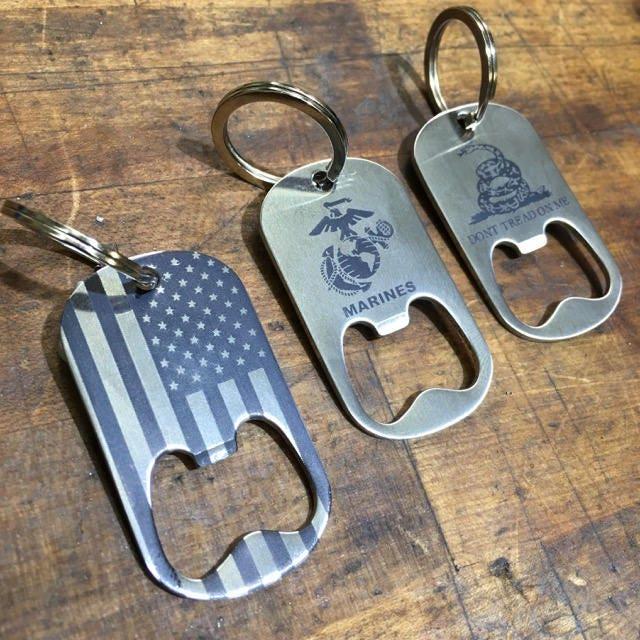 edc bottle opener keychain dog tag dogtag cnc. Black Bedroom Furniture Sets. Home Design Ideas