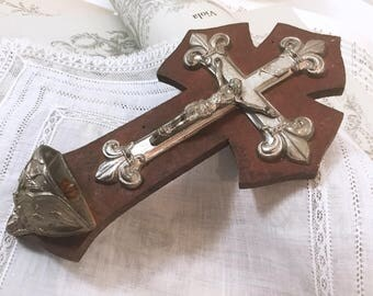 Rosewood crucifix and stoup,  Antique French wall hanging cross, Silver plated Christ, religious relics, Religious artifact, Crucifix wall