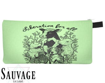 Animals liberation  • Pencils - Makeup - Phone whatever you want little bag • handmade in montreal GO VEGAN