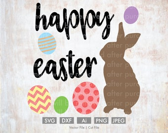 Happy Easter Cute Eggs and Bunny - Cut File/Vector, Silhouette, Cricut, SVG, PNG, Clip Art, Download, Holidays, Easter Eggs, Spring, Rabbit