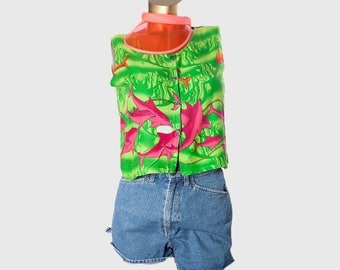 Dolphin 80s crop top•Buttoned shirt•80s blouse•Cropped top•Sleeveless blouse•Summer top•Womens clothing•80s cropped blouse•Miauhaus•Tank top
