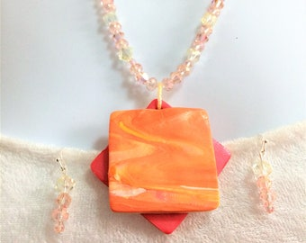 Geometric Pink Necklace - Beaded Necklace - Polymer Clay Necklace - Statement Necklace - Gift for Her - Fashion Necklace - Orange Necklace
