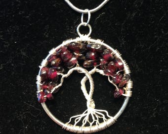 Valentina's Day Garnet Tree of Life Necklace Pendant Wire Silver Plated.Tarnish Resistant Silver.Silver plated Chain. Passion and Love