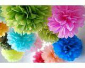 Paper Pom Poms, hanging paper pom poms decoration, perfect for any occasion.