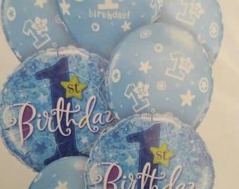 First Birthday Boy balloon bouquet, mix of Foil & Latex Balloons for First Birthday, blue balloons, First Birthday boy, 2 x Foil, 5 x Latex