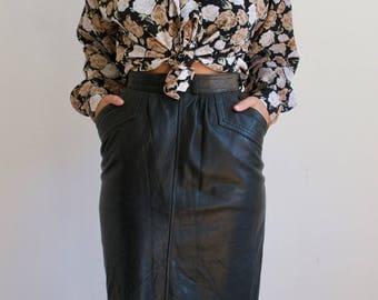 Vintage Women's Longer Length Leather Skirt