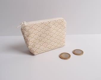 Porte-monnaie - écru et doré - motif japonnais vague Seigaiha - Mini trousse - Trousse à anneaux marqueurs - écailles dorées