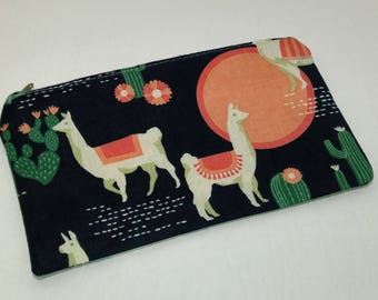 Arizona Desert Novelty Zipper Pouch - makeup bag; pencil case; gift for her; cosmetic bag; carry all; gadget case; birthday; llamas; alpacas