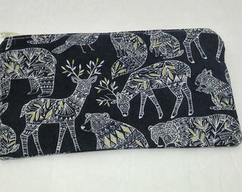 Gold Forest Animals on Navy Novelty Zipper Pouch - makeup bag; pencil case; gift for her; cosmetic bag; carry all; gadget case; medicine bag