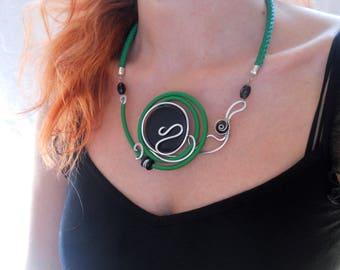 Original necklace Bib necklace Green necklace Unusual necklace Wearable art Authentic necklace Unique necklace Abstract necklace