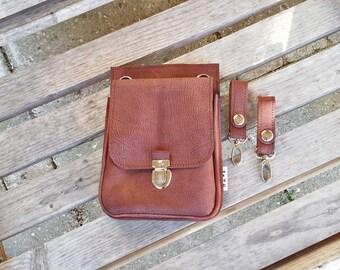 leather hip bag, festival bag, leather belt bag, fanny pack, brown, Brown, leather, man, woman