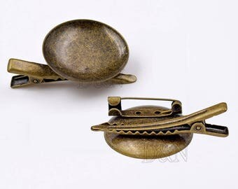 20pcs bezel brooch Blank-30mm Round Bezel Blank Lapel Pin-Bezel Hair Clip fit 30mm Cabochon-SAFETY Cameo Brooch Setting Blank-30mm Tray