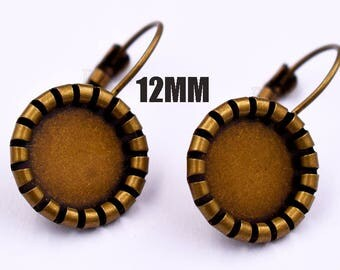 50pcs 12MM Leverback-12mm Bezel Earring Blank-12 mm Leverback Earring Cabochon Bezel Settings-Blank bezel setting earring-12MM/20MM-3 Color