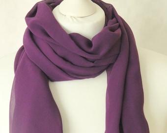 Purple scarf, Chiffon scarf,  Blackcurrant purple scarf, Lightweight scarf, Fashion scarf, Shawl, Mini sarong