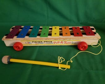 "Vintage 1964 Fisher-Price Pull-A-Tune"" Xylophone Toddler Toy"