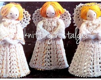 "Lace Angels • Dolls • Christmas Decorations • Ornaments • Craft Fair Ideas • 6"" Tall • Knitting Pattern • PDF Digital Download •"