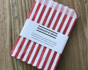 Retro Candy Bags - Red / White Stripes - Party Bags / Paper Bags - for Gifts, Favours, Giveaways, Sweets, Cards - 13 x 18 cm (5 x 7 in)