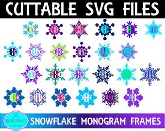 Circle Snowflake Monogram Frame,Circle Snowflake Frame Svg,Monogram Circle,Circle Monogram Cut Files,Circle svg,Monogram Frames