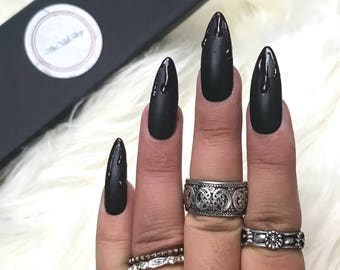 Matte Black Dripping Blood Press On Nails