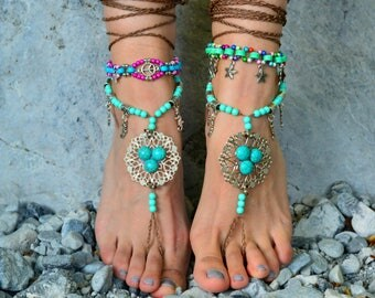 barefoot sandals Barefoot Beach Jewelry Barefoot shoes, Beach Jewelry Hippie Foot Jewelry, festival accessories, yoga toe, garden, anklets