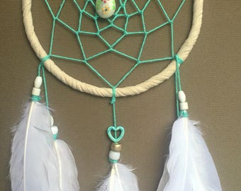 Turquoise and white dreamcatcher