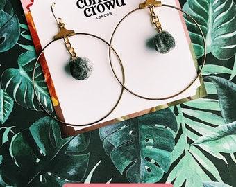 Hoop Earrings Pom Pom Earrings Circle Earrings Big Hoop Earrings Pompoms Grey Handmade Earrings Chain Dangle Earrings Statement Earrings