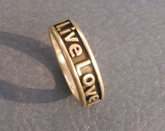 Live love laugh Band Ring In Sterling Silver