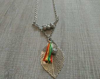 silver chain, silver leaf necklace
