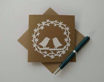 Papercut greeting card, lovebirds card, love card, couple card, any occasion card