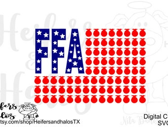 FFA flag svg . pdf, png, eps cut file for cricut and silhouette cameo.  T-shirts, decals, yeti cups,  Future Farmers, 4th of July